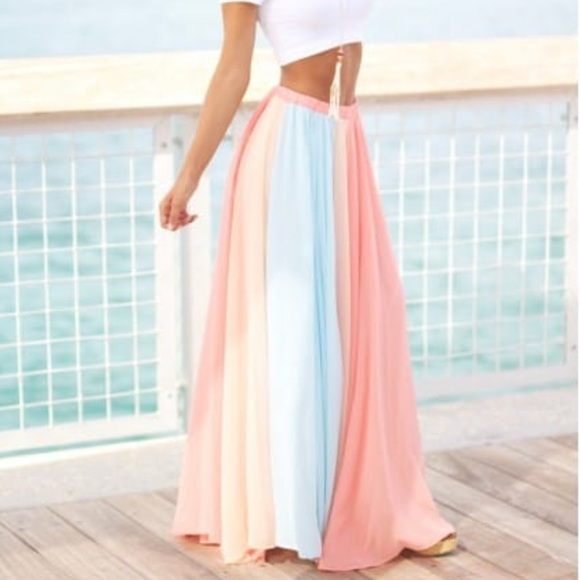 98039f007d71 Saved By The Dress Skirts | Pastel Color Block Chiffon Maxi Skirt ...